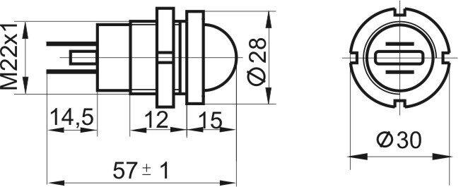 Чертеж светодиодной коммутаторной лампы СКЛ 12 со сферической линзой